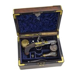 INSCRIBED CASED ROYAL NAVY DOUBLE BARREL FLINTLOCK