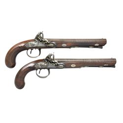 ELEGANT & FINE PAIR OF ENGLISH FLINTLOCK DUELING