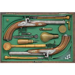CASED PAIR OF LIEGE PERCUSSION TARGET PISTOLS.
