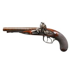 SPECTACULAR HENRY NOCK DOUBLE BARREL FLINT PISTOL