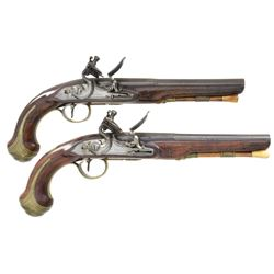 MATCHED PAIR OF DURS EGG FLINTLOCK PISTOLS, CIRCA