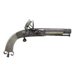 SCOTTISH FLINTLOCK ALL METAL RAM'S HORN PISTOL BY