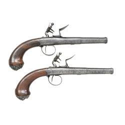 PAIR OF ENGLISH SILVER MOUNTED QUEEN ANNE PISTOLS