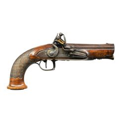 FINE PAIR OF EUROPEAN FLINTLOCK TRAVELERS PISTOLS,