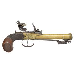 BRASS BARRELED FLINTLOCK PISTOL WITH SPRING