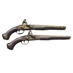 18TH CENTURY PAIR OF ITALIAN FLINTLOCK PISTOLS.
