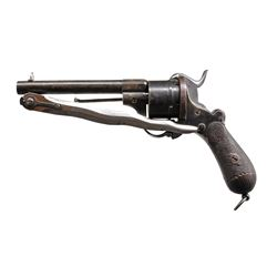 BELGIAN PINFIRE REVOLVER WITH FOLDING BLADE.