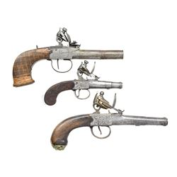 3 ANTIQUE FLINTLOCK PISTOLS.