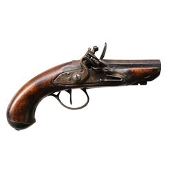 UNMARKED FLINTLOCK POCKET PISTOL.