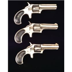 3 REMINGTON SMOOT NEW MODEL NO. 2 REVOLVERS.
