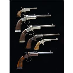 5 STEVENS TIP UP PISTOLS & 1 EUROPEAN PISTOL.
