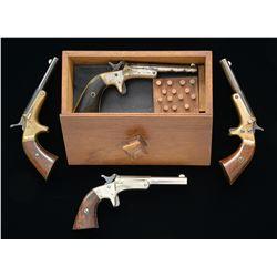 4 STEVENS OLD MODEL POCKET OR SINGLE SHOT PISTOLS.