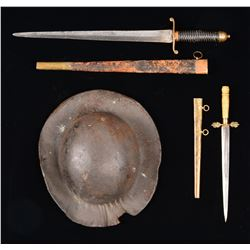 2 EARLY NAVAL DIRKS & LEATHER NAVAL HAT.