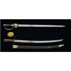 CROSS BELT PLATE & 2 SWORDS.