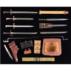 6 BAYONETS, BOWIE KNIFE, LEATHER GEAR & WEB GEAR.