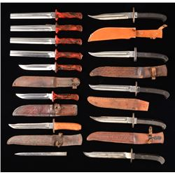 GROUP OF 12 WWII FIGHTING KNIVES MADE FROM