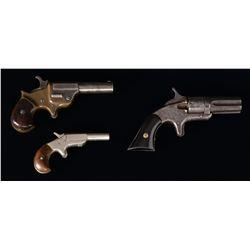 3 ANTIQUE AMERICAN HANDGUNS.