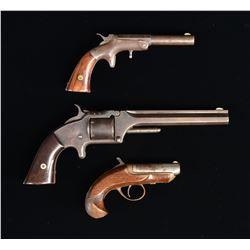 3 AMERICAN ANTIQUE HANDGUNS.