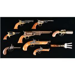 9 REPLICA & ANTIQUE HANDGUNS.