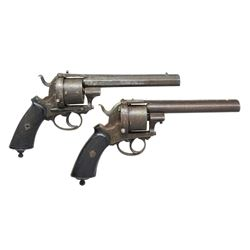 PAIR OF ANTIQUE EUROPEAN PINFIRE REVOLVERS.