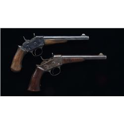 2 REMINGTON 1871 ARMY ROLLING BLOCK PISTOLS.