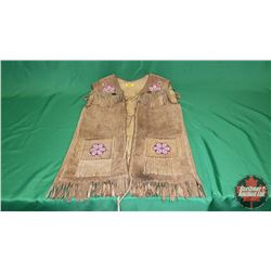 Leather Fringe Vest w/Bead Work (Size appears to be Ladies Small-Medium)
