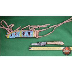 United Cutlery Knife w/Beaded Leather Sheath