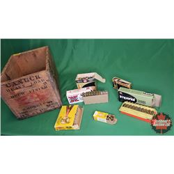 AMMO: Wooden Box Lot - Variety (100 Rnds Total) (30-06Sprg, 22LR, 30-30Win, 12ga Special Long Range