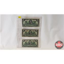 Canada $1 Bills 1937 - Sheet of 3: (Gordon/Towers Y/L4697155 & Coyne/Towers SN8792459 & Coyne/Towers