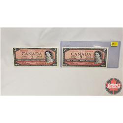 Canada $2 Bills 1954 (2 Sequential) : S/N#B/U9494434/35 Beattie/Rasminsky