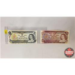 Canada Bills (2): 1973 $1 Bill S/N#AMK6687246 Crow/Bouey & 1974 $2 Bill S/N#BB2542262 Lawson/Bouey