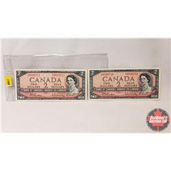 Canada $2 Bills 1954 (2 Sequential) : S/N#D/U9064711/10 Beattie/Rasminsky
