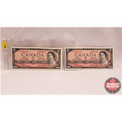 Canada $2 Bills 1954 (2 Sequential) : S/N#D/U9060731/31 Beattie/Rasminsky
