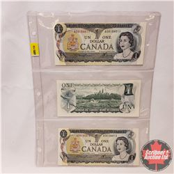 Canada $1 Bills 1973 - Sheet of 3 Sequential : S/N#AC0154011/12/13 Lawson/Bouey