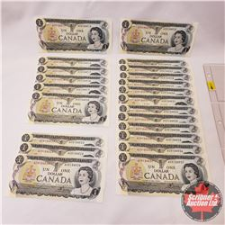 Canada $1 Bills 1973 - Sheet of 23 Bills (Sequential with Interruption - Also Note Lot #10!) : S/N#A