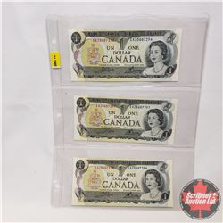 Canada $1 Bills 1973 - Sheet of 3 (Sequential) : Crow/Bouey (EAZ0607296/97/98)
