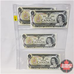 Canada $1 Bills 1973 - Sheet of 4 (Partial Sequence) : Crow/Bouey (EAX0607258/63/64/66)