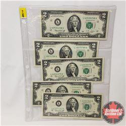 US $2 Bills 1976 (Sheet of 5) : (L42530258A/L18075780A/L42530075A/L15264824A/L17057343A)