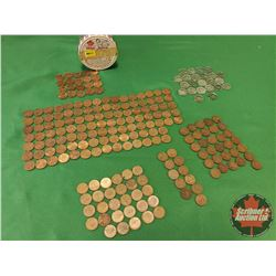 Canada 223 Coins in a Jar : Pennies (200) & Nickels (23) (Large Variety!)