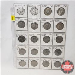 US Half Dollar - Sheet of 20 (1950's; 1960's; 1970's - See Picture for Dates)