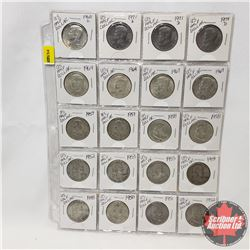 US Half Dollar - Sheet of 20 (1940's; 1950's; 1960's; 1970's - See Picture for Dates)