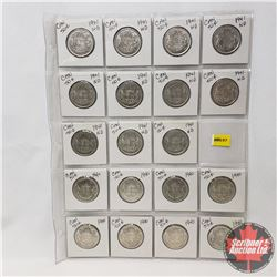 Canada Fifty Cent - Sheet of 19 (1940 x 8) (1941 x 11) (See Picture for Details)
