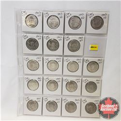 Canada Fifty Cent - Sheet of 19 (1942 x 15) (1943 x 4) (See Picture for Details)
