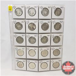 Canada Fifty Cent - Sheet of 20 : (1960 x 5) (1961 x 5) (1962 x 6) (1963 x 4)