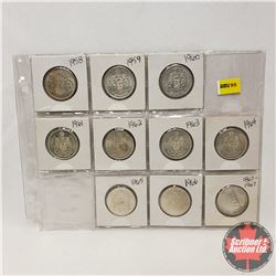 Canada Fifty Cent - Sheet of 10 (1958; 1959; 1960; 1961; 1962; 1963; 1964; 1965; 1966; 1867-1967)