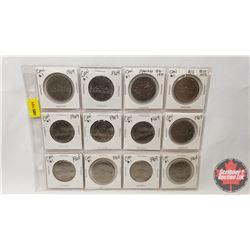 Canada One Dollar - Sheet of 12: (1968 x 3) (1969 x 7) (1870-1970) (1873-1973)
