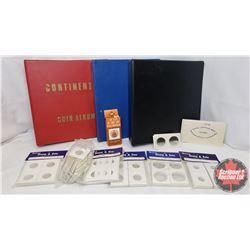 Box Lot - Vintage Coin Packaging & 3 Binders