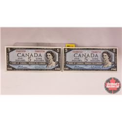 Canada $5 Bill : Beattie/Rasminsky (BX3346712 & TX8402556)