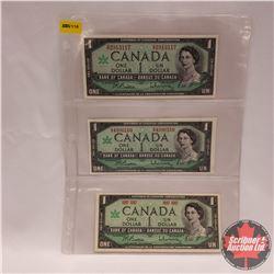 Canada $1 Bills 1967 - Sheet of 3: Beattie/Rasminsky (G/P2913117 & GP4990160 & No S/N#)