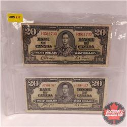 Canada $20 Bills 1937 (2) : Gordon/Towers EE3511733 & Coyne/Towers LE0594367